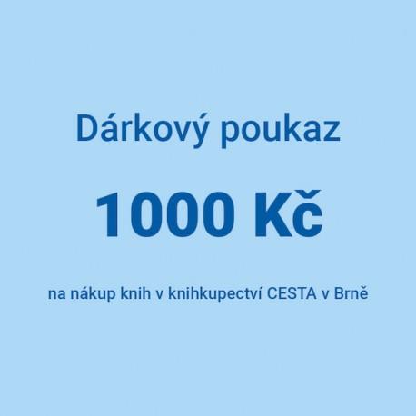 Dárkový poukaz 1000 Kč na nákup knih v knihkupectví CESTA v Brně.